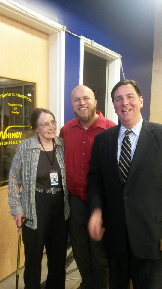 Mary Shaw,  Gordon Kirkwood, and Pittsburgh's new mayor Bill Peduto outside of Whimsy Engineering's office at Techshop Pittsburgh,  after President Obama's address there on the subject of innovation and entrepreneurship in America.