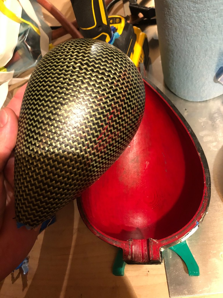 Carbon Kevlar Nacelle half made in a 3d printed mold